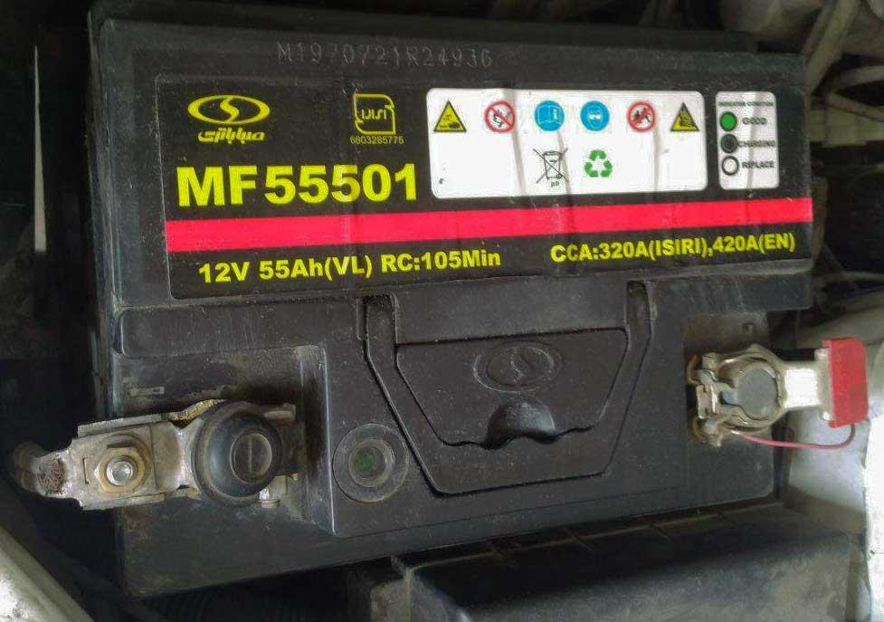 مشخصات روی باتری خودرو