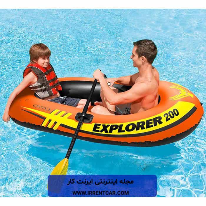 قایق بادی اینتکس مدل Explorer 200؛ بهترین مارک قایق بادی دو نفره