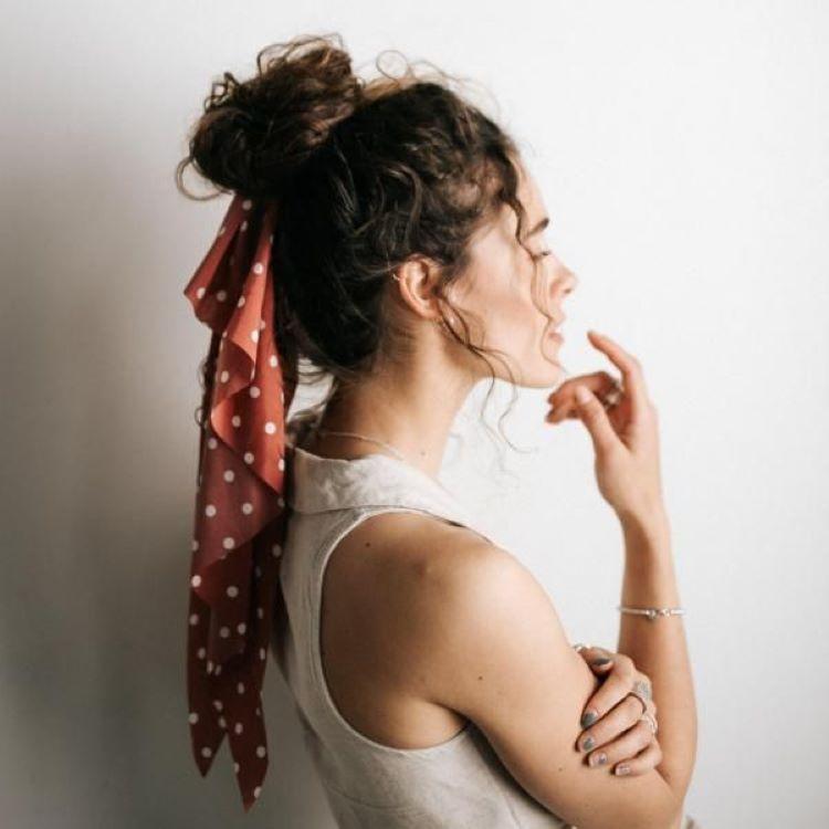 مدل بستن مو با بندهای ابریشمی و ساتن