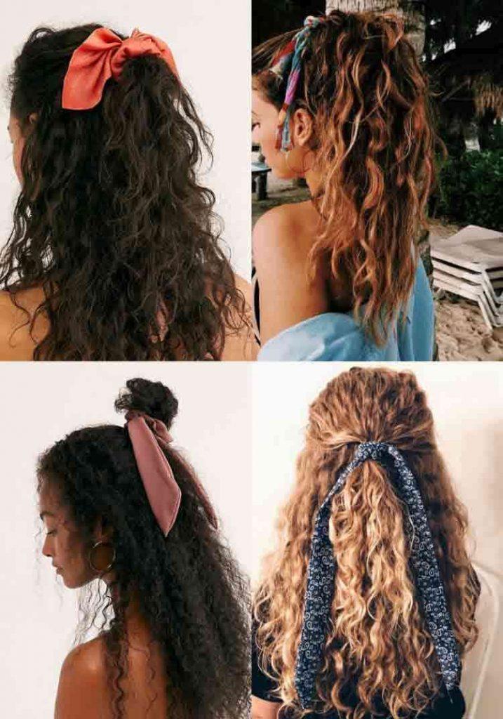 مدل بستن موی فر با بندهای ابریشمی و ساتن