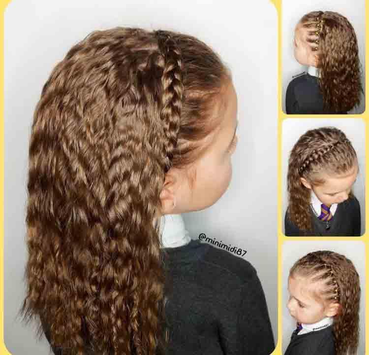 بستن موی فر دختربچه ها با گیس تل مانند